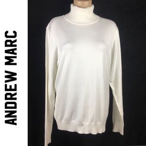 Andrew Marc White Ribbed Turtleneck Sweater XL